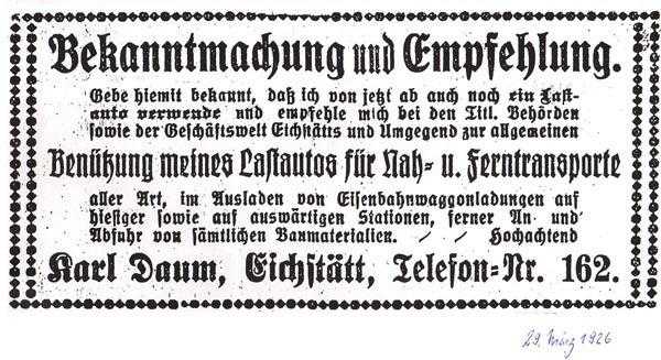 Bekanntmachung vom 29. März 1926
