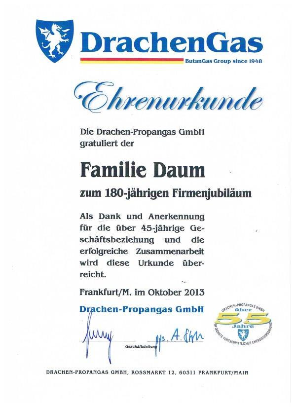 Drachengas Urkunde