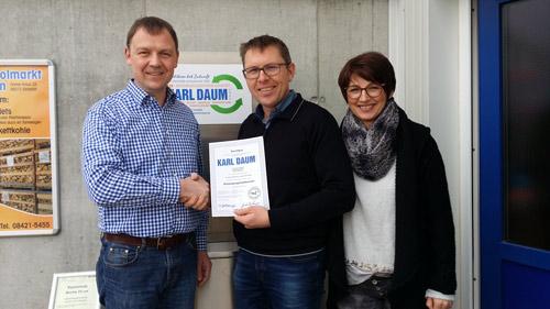 Folgezertifizierung Entsorgungsfachbetrieb Inhaber Karl Daum und Margarete Daum