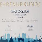 Urkunde Heidi Goepfert